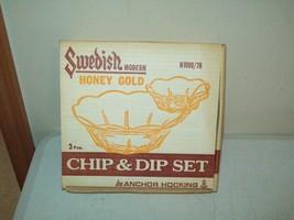 Vintage Anchor Hocking Chip & Dip set Swedish Modern Honey Gold New Old ... - $9.90