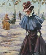 """"""" Viktorianische Dame in Blau """" von Juan Valera Montoro Unterzeichnet Öl - $2,406.58"""
