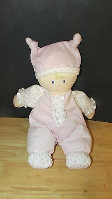 Kids Preferred doll baby soft plush pink knotted hat polka dots satin ruffle