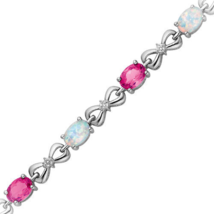 Opal and Pink Sapphire With Simulated Diamond Bracelet In White Gold Pla... - $139.99