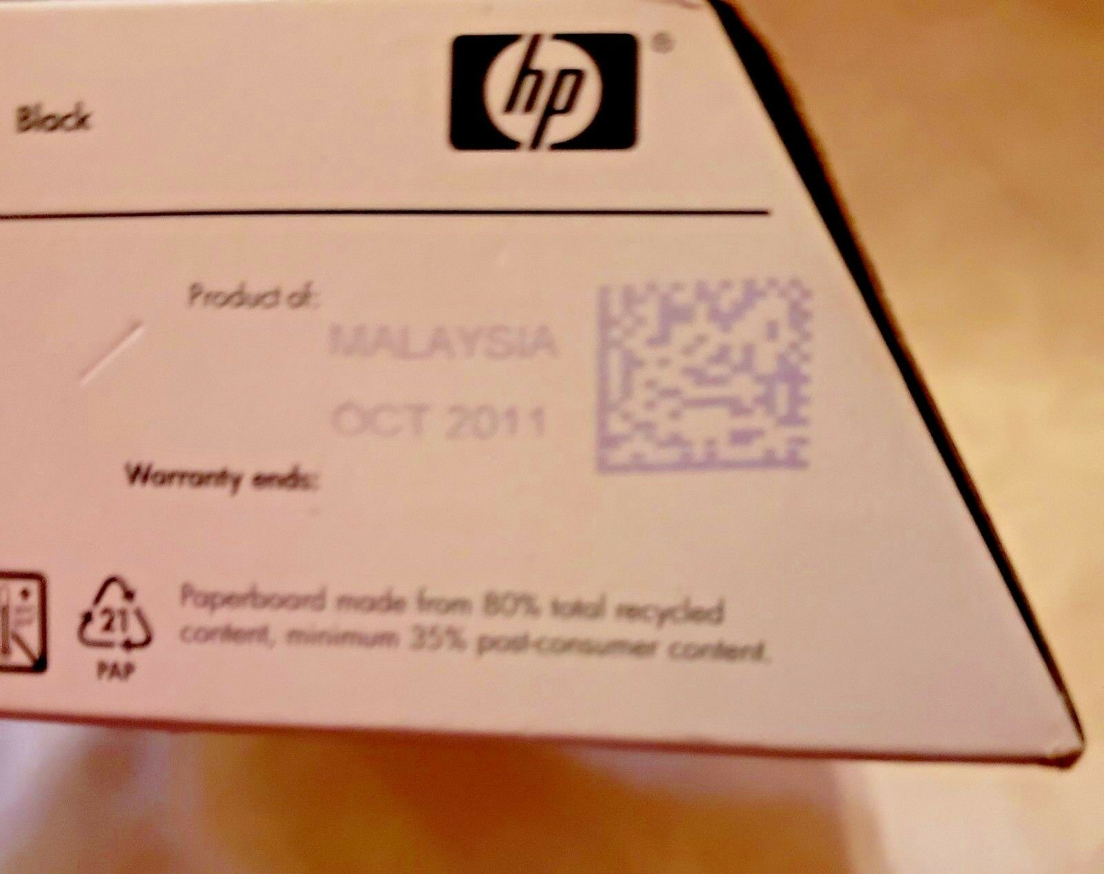 HP 02 ink Black... Product # CP8721WN Expired Oct. 2011...Free Shipping