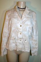 EVAN PICONE White Beige Toile Print Stretch Cotton Jacket Sz 8 - $9.89