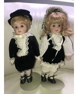 """1985 Porcelain Dynasty Doll Collection 12"""" With Stands Doll set - $29.69"""