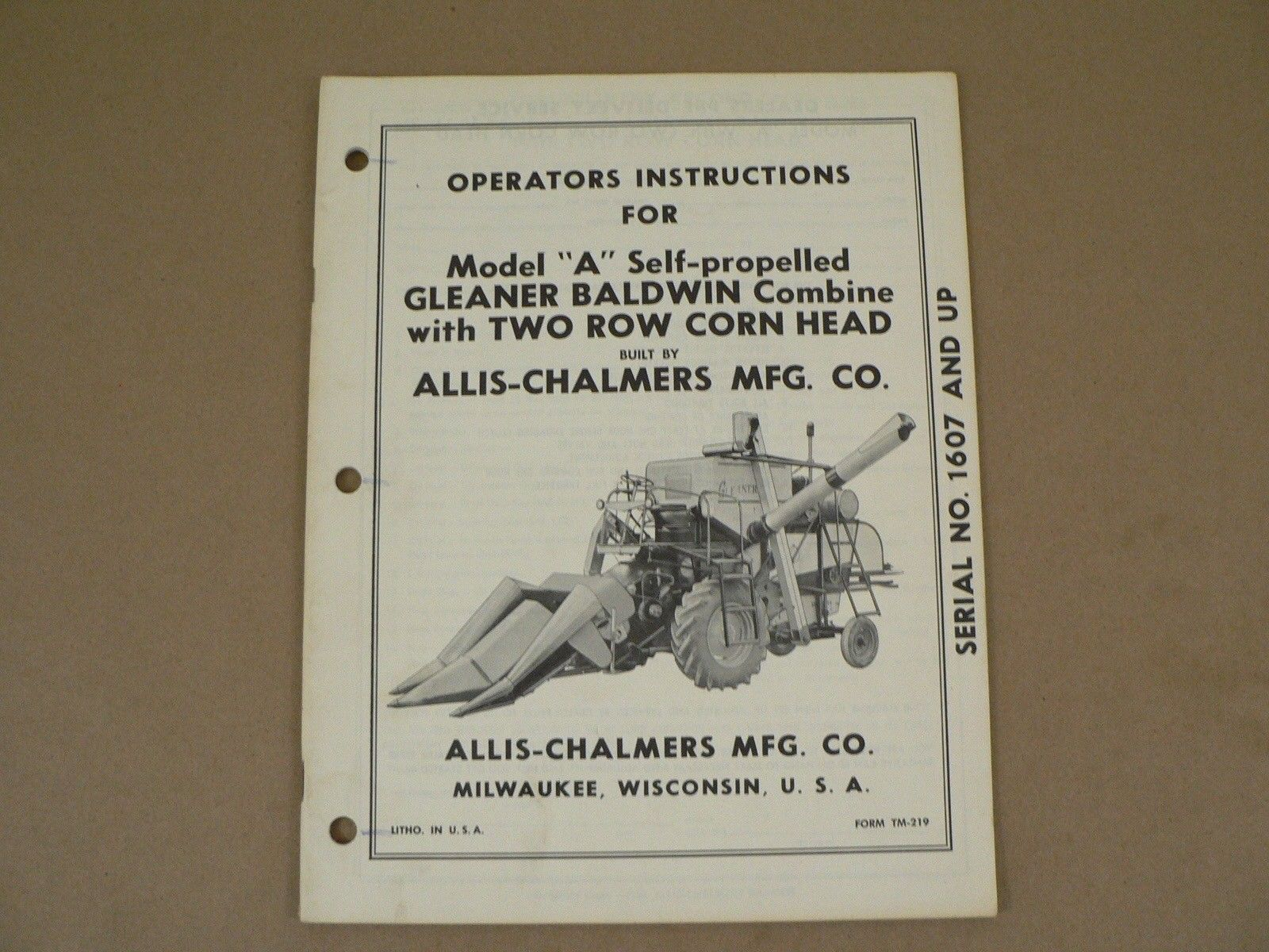 Allis chalmers owners manual model a gleaner and 33 similar items allis chalmers owners manual model a gleaner baldwin combine serial 1607 up publicscrutiny Images
