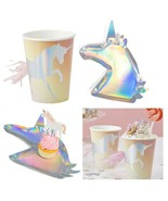 Iridescent Silver Unicorn Shaped Plates & Tassel Tail Cups, Magic Birthd... - $25.48