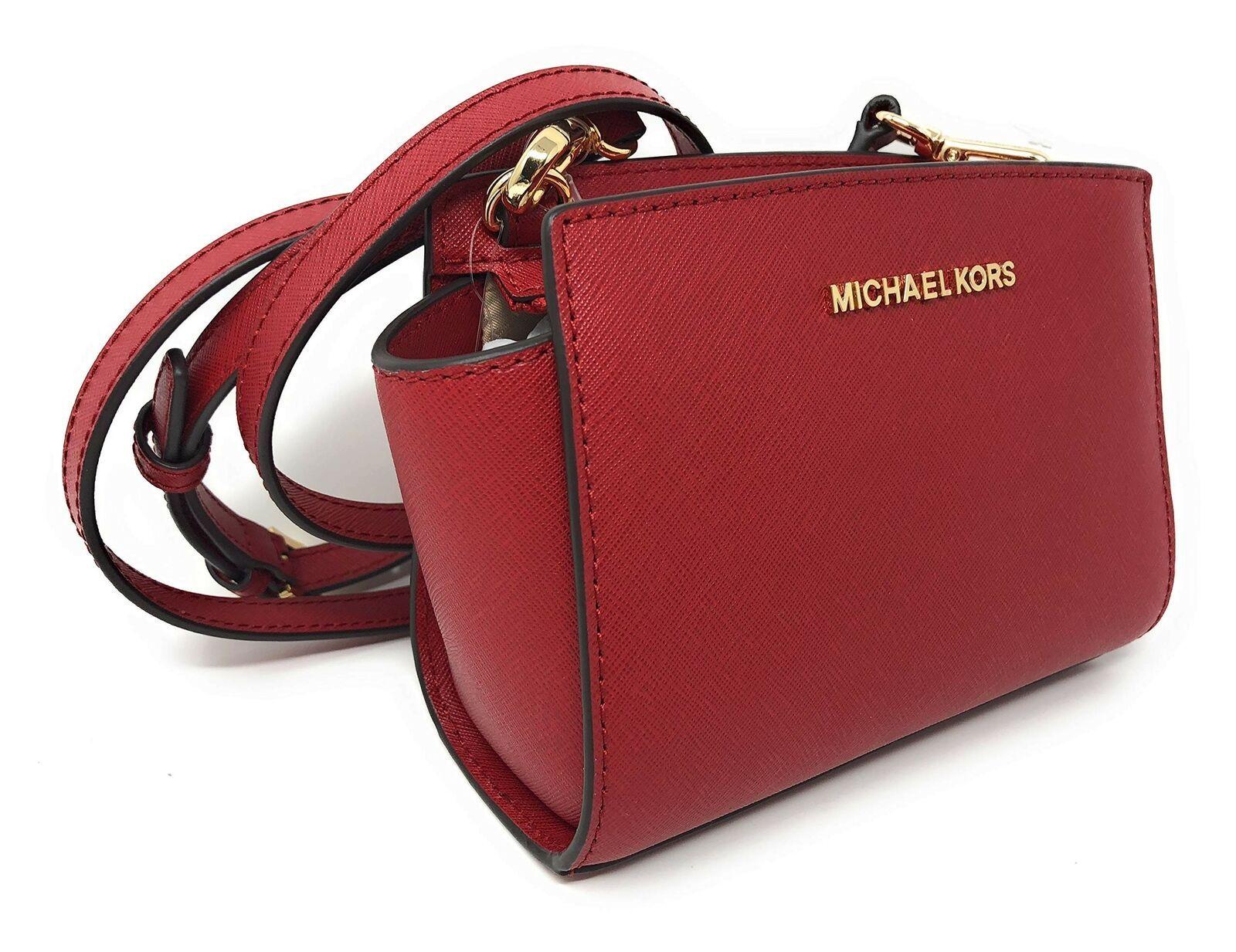 Michael Kors Selma Mini Saffiano Leather Crossbody Bag in Scarlet