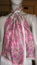 Paisley Vera Neumann Scarf Sash 70 Inch Pink Mauve Beige - $34.64