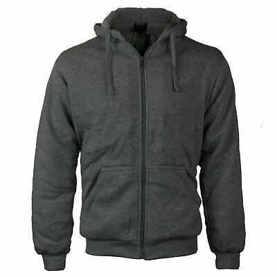 Men's Athletic Sherpa Lined Fleece Zip Up Hoodie Sweater Jacket w/ Defects - L