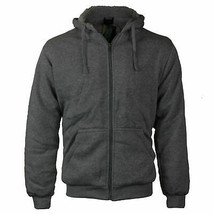 Men's Athletic Sherpa Lined Fleece Zip Up Hoodie Sweater Jacket w/ Defects - L