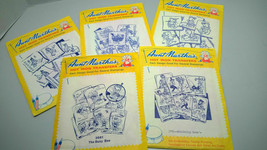 VINTAGE AUNT MARTHA'S Hot Iron On TRANSFERS EMBROIDERY Crafts 5 Packs - $13.75