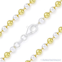 4.1mm Ball Faceted Bead Chain Necklace Italy 925 Sterling Silver 14k Yellow Gold - $138.59 - $222.44