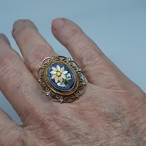 Micro Mosaic Ring Cobalt Royal Blue Vintage 40's - 50's image 9