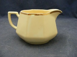 VTG Homer Laughlin Yellow Stone Cream Pitcher  Gold Trim - $8.00