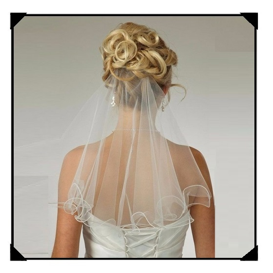 Simple Flare One Layer Elbow Length Soft Tulle Rolled Pencil Edge Wedding Veil