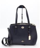 NWT Coach Turnlock Navy Blue Leather Carryall 29 Shoulder Crossbody Bag ... - $195.00
