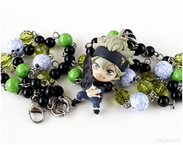 Burakku Kuroba Asta Anime Figure Necklace, Black, Green, Handmade, Otaku... - $41.00