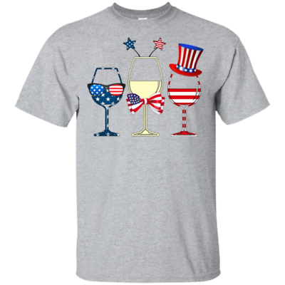 4th July Independence Day Wine American Men T-Shirt S-6XL