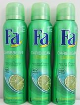 Fa Caribbean Lemon deodorant anti-perspirant spray 3 x 150ml-FREE SHIPPING - $24.74
