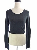 Womens Zenana Outfitters Large Charcoal Gray Long Sleeve Crop Top - $18.00