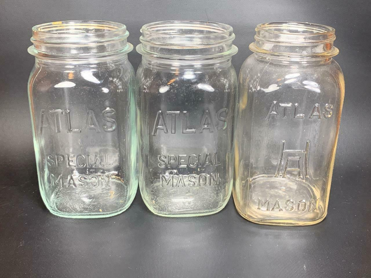 "Primary image for Set of 3 MASON Hazel Atlas 7"" Clear Glass Canning Jars 1 Quart"