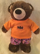 Build A Bear Halloween plush brown 16 inch bats spiders 2 pc outfit orange - $22.99