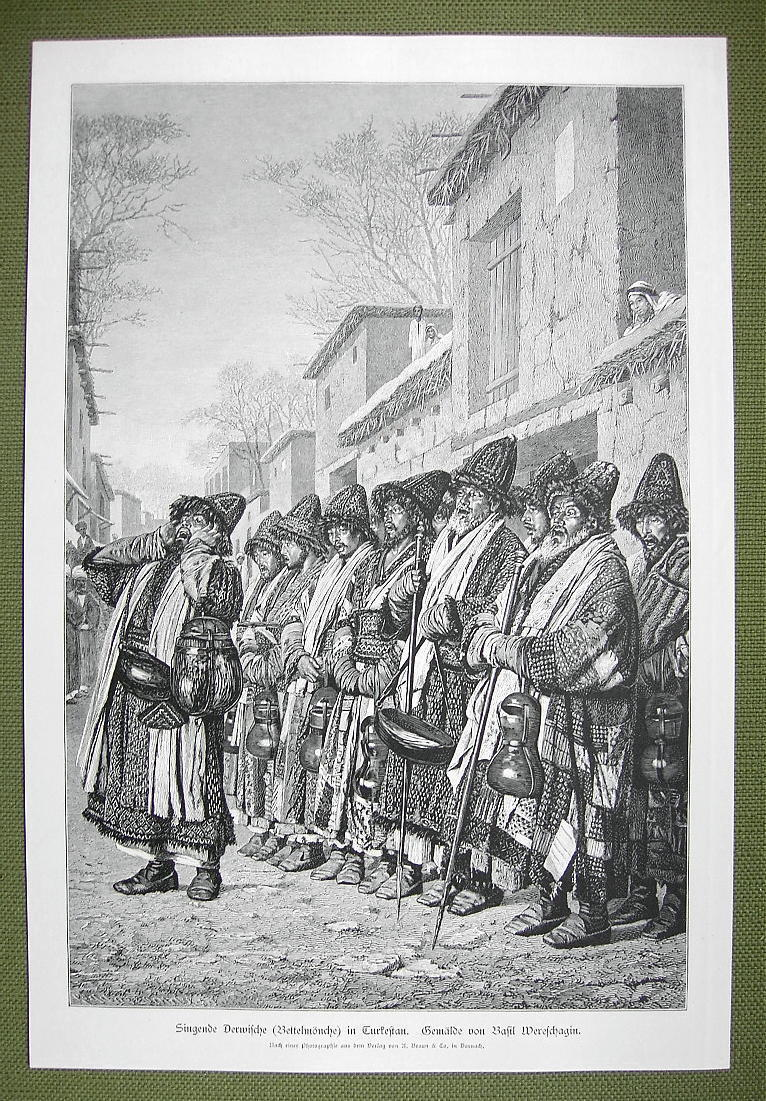 TURKESTAN former Russia Dervishes of Bokhara  - VICTORIAN Era Engraving Print