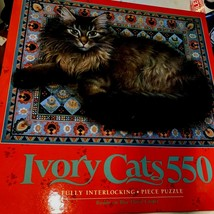 Ivory Cats Puzzle 550 Vintage 1992 Sealed  Rusking on Blue Floral Carpet (bin3x) - $25.65