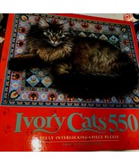 Ivory Cats Puzzle 550 Vintage 1992 Sealed  Rusking on Blue Floral Carpet... - $25.65