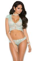 Sheer Floral Lace Cami Panty Set Faux Pearl But... - $30.99