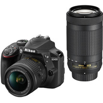 Nikon D3400 DSLR Camera with 18-55mm and 70-300mm Lenses (Black) - $691.11