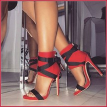 Red Spike Zip Back Open Toe Sandal Black Lace Up Strappy Classic Stiletto Heels