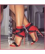 Red Spike Zip Back Open Toe Sandal Black Lace Up Strappy Classic Stilett... - $109.95