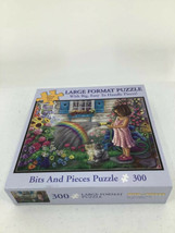 Bits And Pieces Wishing You A Rainbow Puzzle Girl Flowers Cat Large Format - $9.49