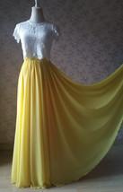 Yellow Chiffon Maxi Skirt Outfit Yellow High Waisted Floor Pleated Chiffon Skirt image 1