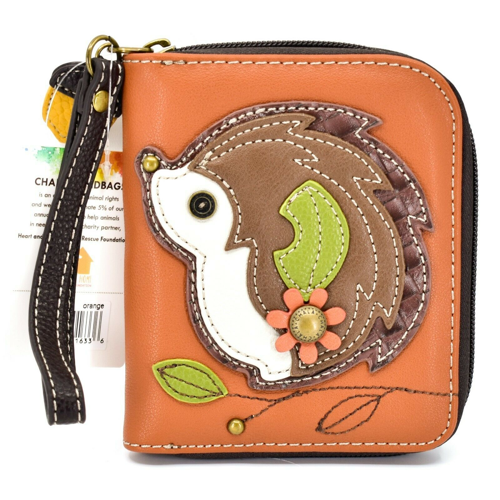 Chala Handbags Faux Leather Hedgehog Brown Zip Around Wristlet Wallet