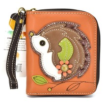 Chala Handbags Faux Leather Hedgehog Brown Zip Around Wristlet Wallet