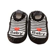 Black Strip Simple Design Thicken Short Style Babies Socks, 13 cm image 3