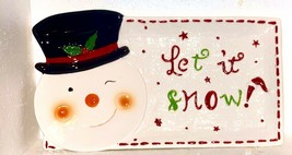 SNOWMAN  Let It Snow. Decorative Christmas Plate RED GREEN BLACK PLATTER... - $22.65