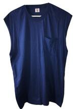 80s Vtg Fruit Of The Loom Pocket T Shirt Blue Sleeveless Mens L Large - $9.89