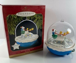 "Hallmark 1997 ""SNOOPY PLAYS SANTA"" PEANUTS Motion Keepsake Christmas Orn... - $24.74"