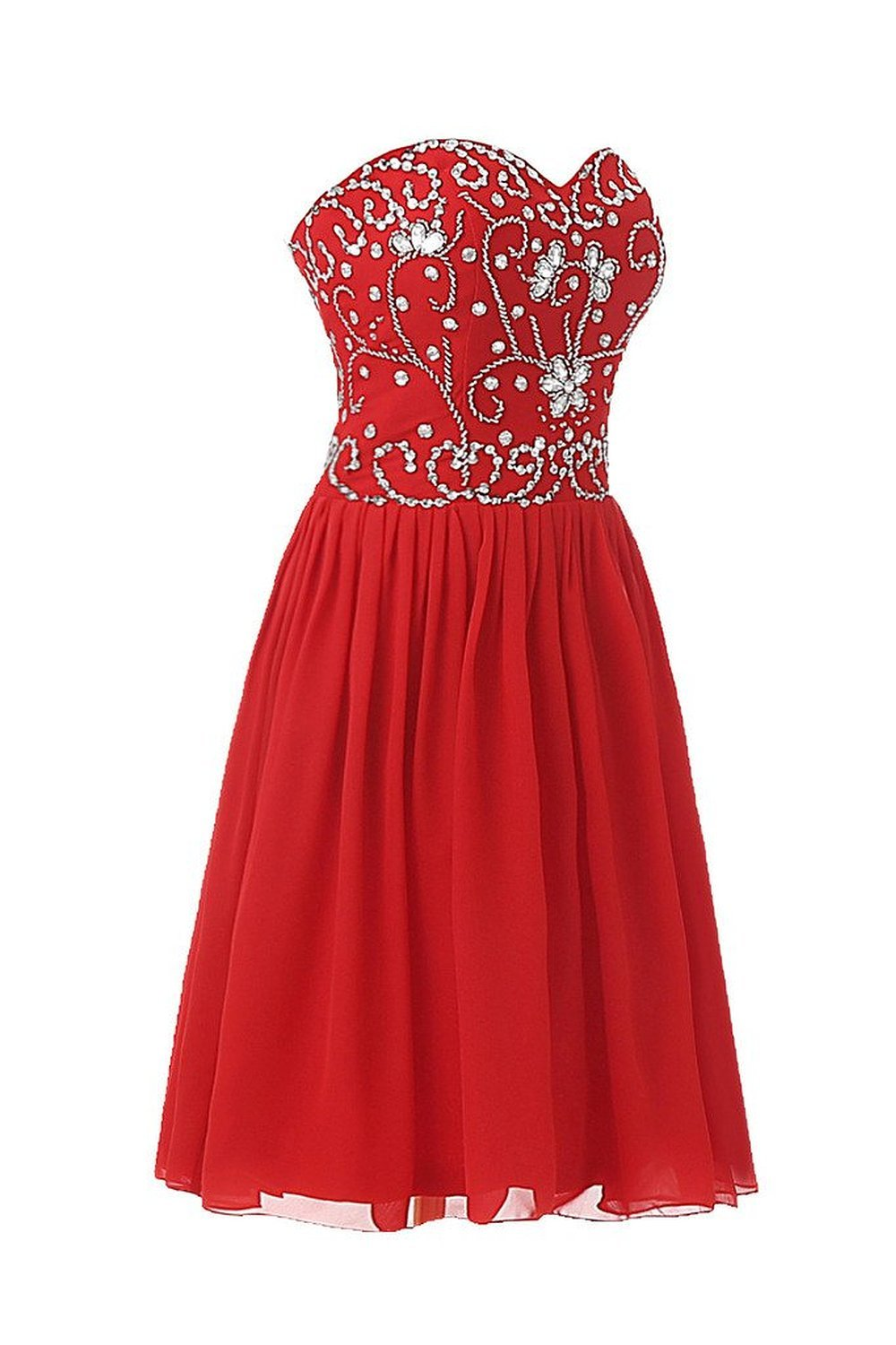 Women's Short Sweetheart Chiffon Beading Prom Dresses Homecoming Party Dress