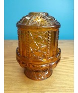 Vintage Indiana Glass Stars and Bars Fairy Lamp Candle Light, amber, 6.5... - $17.77