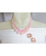 Vintage Germany Pale Pink Lucite Opaque Sheer Beads Necklace Earrings Se... - $22.50