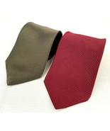 Lot of 2 Neckties-Zylos-George Machado-Red Green-Men's Formal Fashion - $26.17