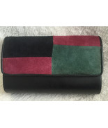 Ande Womans Black Purse Clutch Shoulder Bag with Jewel Tone Suede Accents - $26.00