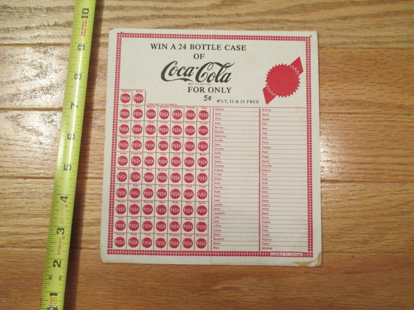 Primary image for Coca Cola Coke Soda Pop 5 cents push game gambling punchboard Advertising