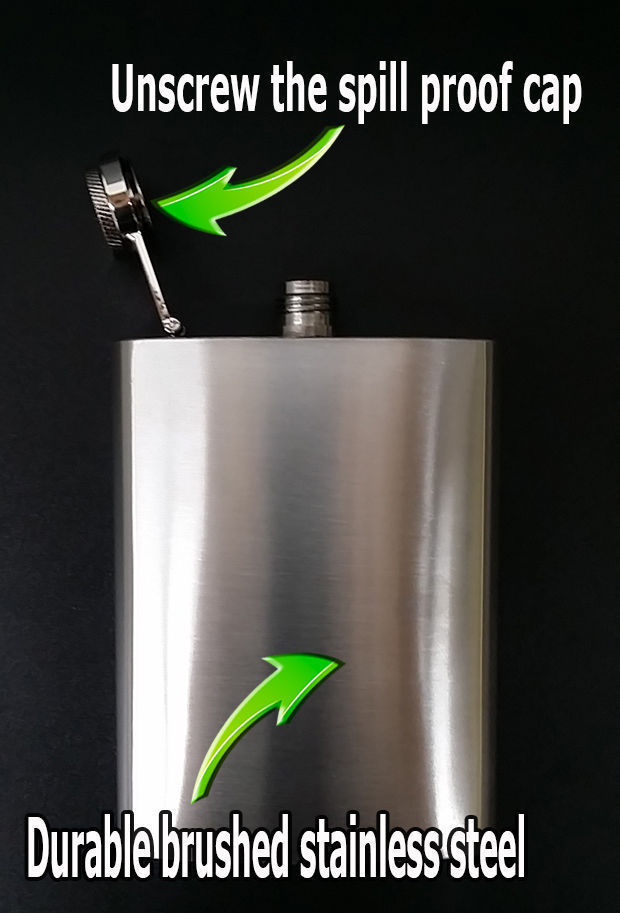 Set of 2 World Map D 3 Flasks 8oz Stainless Steel Drinking Whiskey
