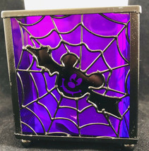 Disney Mickey Mouse Halloween Candle Votive Holder Glass Metal Purple Bat Design - $9.89