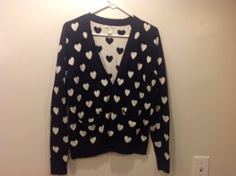 Forever21 Black Cardigan with White Hearts Sz M