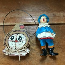 Lot of 2 Painted Wood & Vintage Plastic Scarecrow Christmas Tree Ornamen... - $8.59